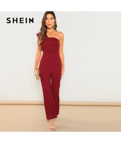 Burgundy Modern Lady One Shoulder Sleeveless Flared Mid Waist Skinny Maxi Jumpsuit Summer Highstreet Women Jumpsuits - 4X307...