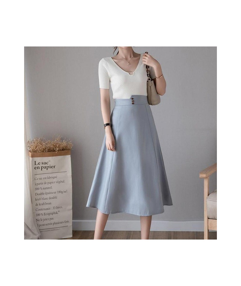 Women Spring Summer High Waist Midi Skirt Casual Solid Color Ruffles Button Skirts Black Beige Skirts Female 2019 - Light Bl...