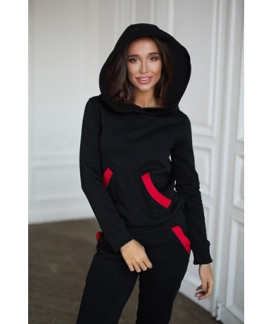 2019 Fashion Autumn Winter Women Tracksuits Outfits Big Hat Sweatshirts+Slim Full Pants 2 Piece Set Pockets Female Set - Bla...