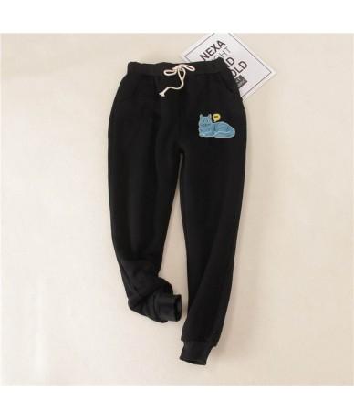 Winter Lambskin Thicker Elastic Waist Pants Loose Large Size Black Pink Cotton Harem Pants Women Casual Warm Trousers - Blac...