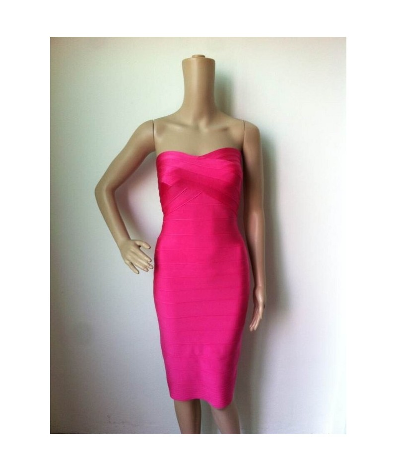 black strapless knee length midi bandage dresses 2019 new arrival party bodycon summer red Dress + suit - Red - 20032648657-2