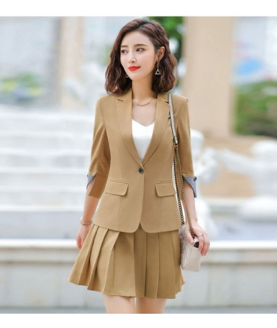 New Style Summer pink office uniform designs Women Suits with Skirt Elegant Business Blazer And Skirt Set Plus Size 4XL - kh...