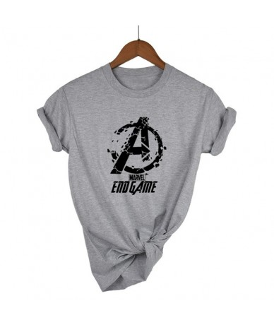END GAME MARVEL t Shirt woman cotton short sleeves Casual male tshirt marvel shirts tops Graphic Tees plus size - Light grey...