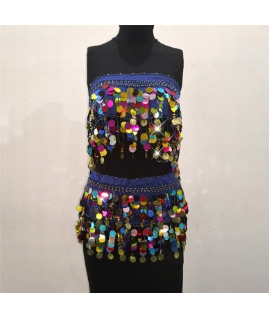 Sexy Sequined Bandage Mini Skirt Women High Wiast Two Wearing Styles Tassel Coins Summer Beach Super Short Skirts - bao lanT...