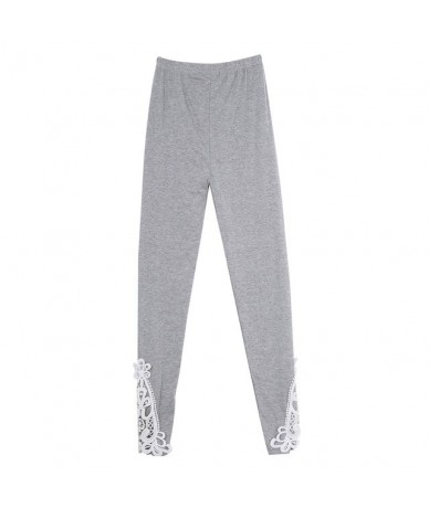 NEW Fashion Women's Sexy Lace Stretchy Skinny Cotton High Waist Leggings Pants - Gray - 443998107166-3