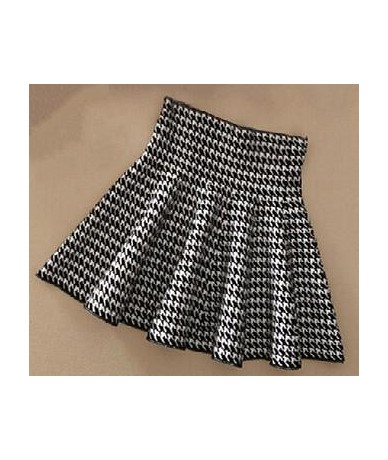 Streetwear Spring High Waist Women Skirt Knitting Short Skirt Ladies Casual a-line Pleated Elastic Flared Skirts female - Ho...