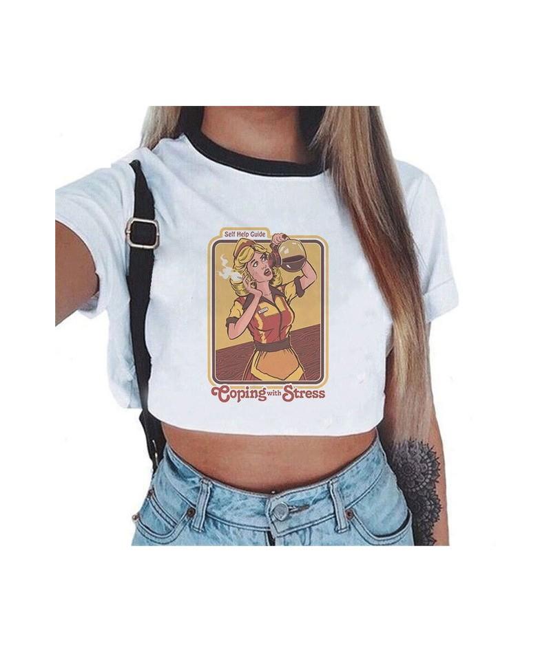 Satan Women's Cropped Demon Cat T-shirt Crop Top Cartoon Tight Death Horror Shirt Kawaii Harajuku Streetwear Drop Shipping -...