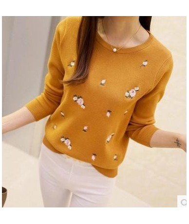 S-3XL New Youth Women's Sweater Autumn Winter 2019 Fashion Elegant Peach Embroidery Slim Girl's Knitted Pullover Tops Female...