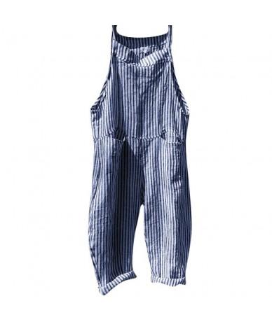 women pocket Bandage Sleeveless Jumpsuit Stripe Linen pockets loose Bodysuit Casual overalls for women Playsuit Romper - Blu...