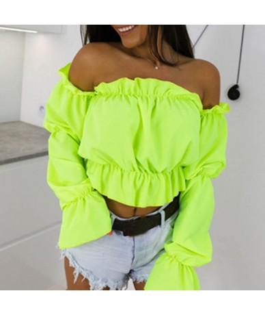 2019 Candy Color Off Shoulder Crop Tops women Summer dot print lantern sleeve shirts Lady Sexy Slash neck beach blouse - Gre...