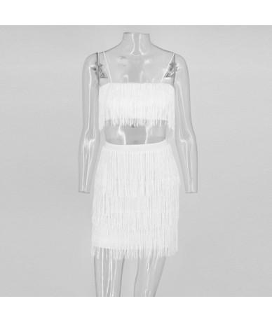 Tassel V Neck Sexy Dress Women Spaghetti Strap Sleeveless Summer White Black Party Dress Elegant Club Mini Vestidos - red - ...