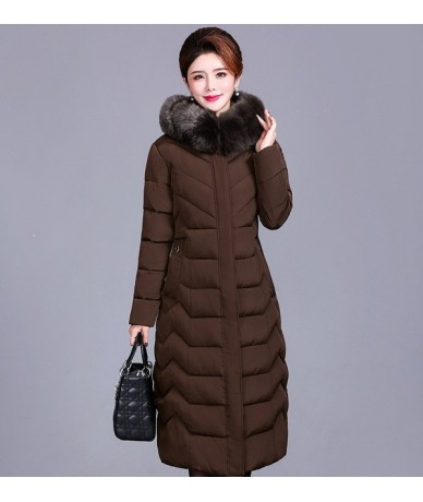 2019 Plus size XL-6XL Winter Parkas Women X-long Hooded Thicken Down cotton jacket Middle aged Female Fur collar warm Coats ...