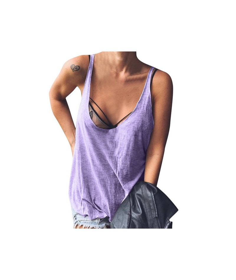 2019 New Sexy Tank Tops Women Summer Sleeveless O-Neck Back Deep V Shirt Beach Slim Ladies Vest Casual Sleeveless shirt Tee ...