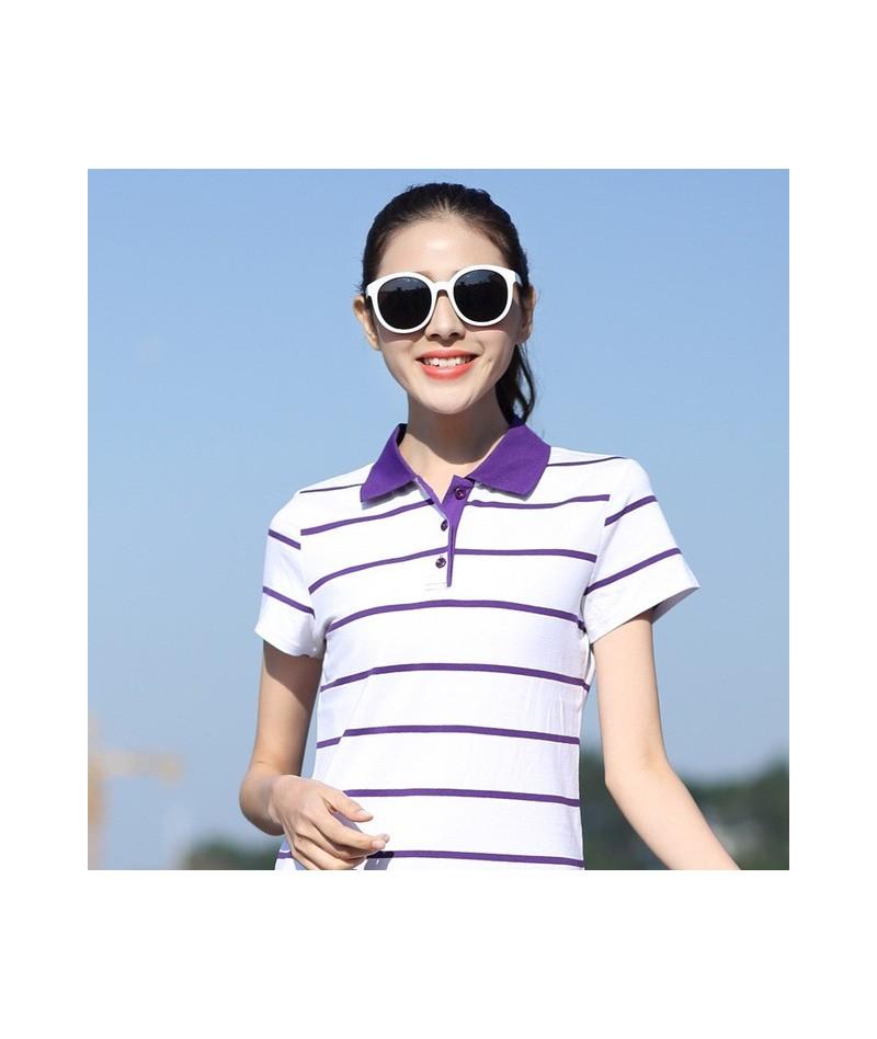 Colorful high quality New Fashion Casual Stripe Women's Polo shirt Summer Short Sleeve Loose Top Tee Shirts - Purple - 4K413...