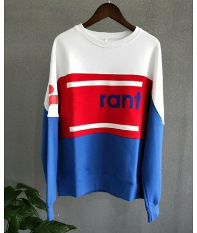 Women Letter Print Casual Cotton Loose Sweatshirt 2018 New Patchwork Long Sleeve O Neck Spring Autumn Pullover Top - As show...