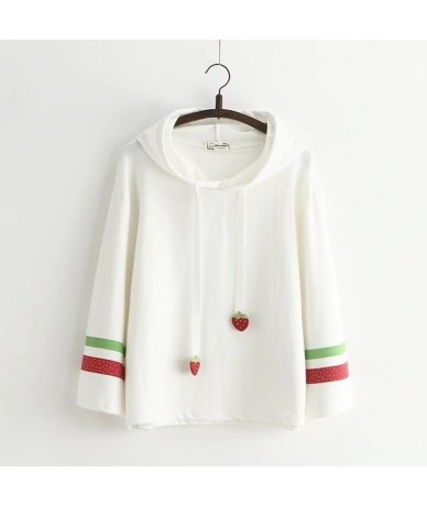 Harajuku kawaii women cute funny strawberry embriodery pullover hoodies cotton tops hooded sweatshirts for female - white - ...