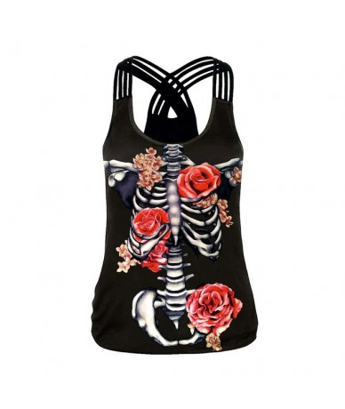 Sexy Hollow Out Women Tank Tops Skull Rose 3D Print Tops Sleeveless Fitness Clothing For Woman - B104-046 - 4G4141617445-1