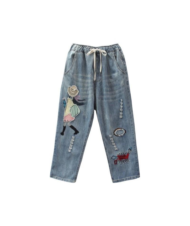 2019 Autumn Woman Casual Cartoon Jeans Elastic Waist Denim Embroidery Trousers Washed Vintage Harem Pants Female - Blue - 5N...