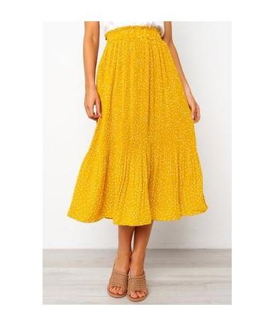 2019 Summer Casual Chiffon Print Pockets High Waist Pleated Maxi Skirt Womens Long Skirts For Women - YELLOW - 4D3086703844-7