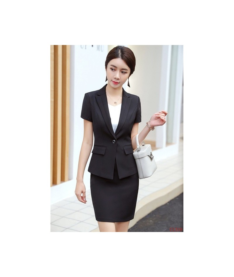 Summer Formal Black Blazer Women Business Suits with Skirt and Jacket Sets Ladies Work Wear Office Uniform Styles - Black - ...