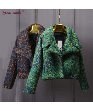 High Quality Wool Coat Women Slim Short Tweed Jacket Fashion Female Outwear Green Coat Brand Women Jacket - black - 4J393817...