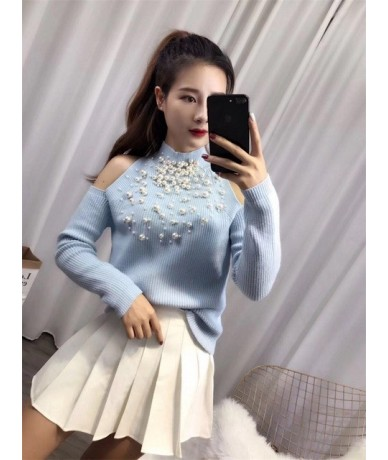 Beaded Strapless Off-shoulder Sweater Women Winter Sexy Pullovers Solid Color Fashion Jumpers - Sky Blue - 4W3949005922-2