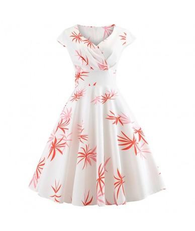 Red Heart Women Vintage Dress Casual Short Sleeve Elegant V Neck Floral Party Dresses Summer 50s 60s Retro Rockabilly Robe f...