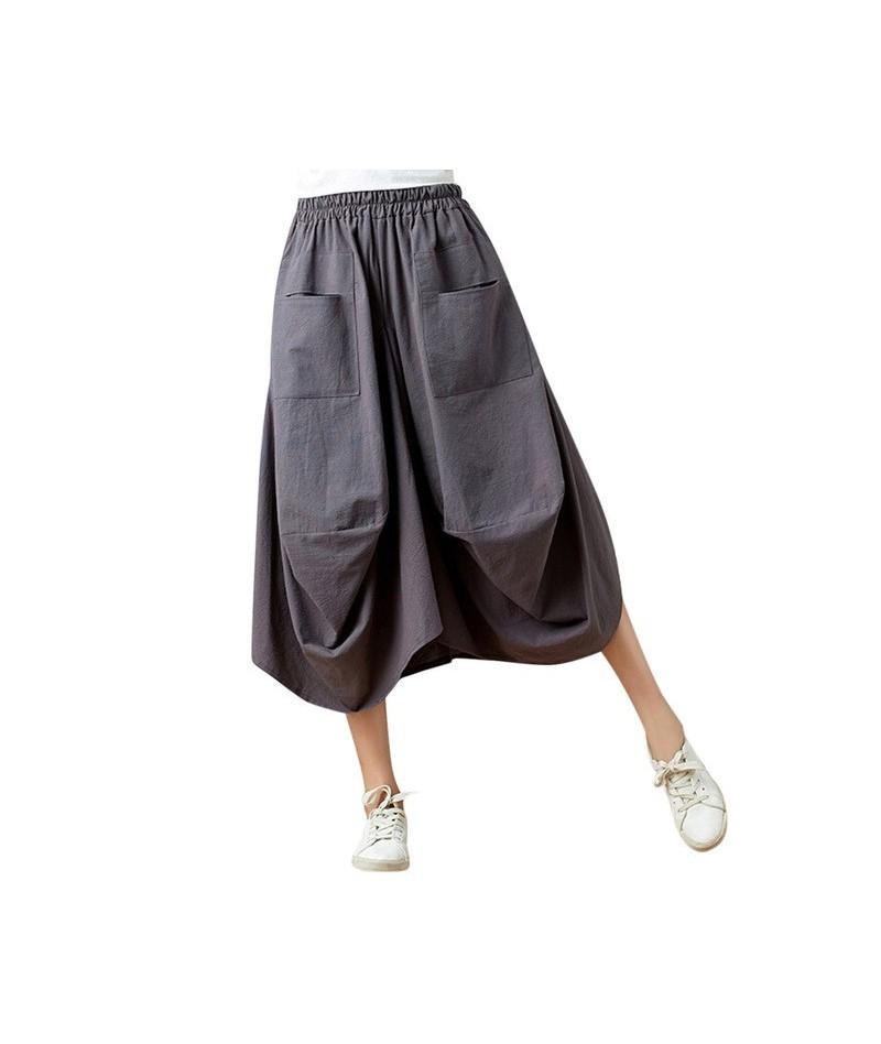 Women's casual elastic waist cotton linen loose harem pants novelty solid color simple wide leg cropped pants 2019 - Dark Gr...