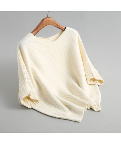 Autumn winter short sleeve o neck striped rib knitted tops women casual soft touching sweater - Ivory - 403025207886-4