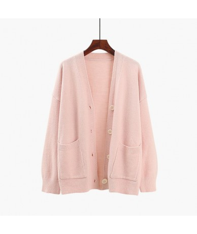 long-sleeved button women sweaters and cardigan 2018 autumn winter new lazy wind lady loose knitted solid outwear coat tops ...