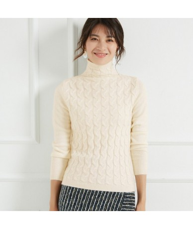 2019 thickening high collar cashmere sweater women sweater cashmere pullover sweater coat - Beige - 403956298935-1