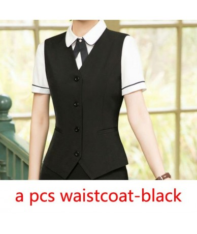 New Style Formal Vest & Waistcoat Plus Size Ladies Suits Business with Skirt and Jacket Pant Sets Office Uniform Styles - bl...