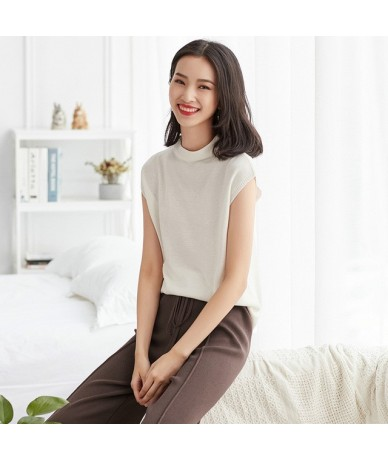spring summer new sweater women sweaters and pullovers half high neck sleeveless sexy women knitted female pullover tops - w...