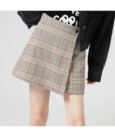 European Style Asymmetrical Women Shorts Mid Waist Geometric Print Wrap Casual Shorts Women Button Pencil Skirts Shorts - Pl...