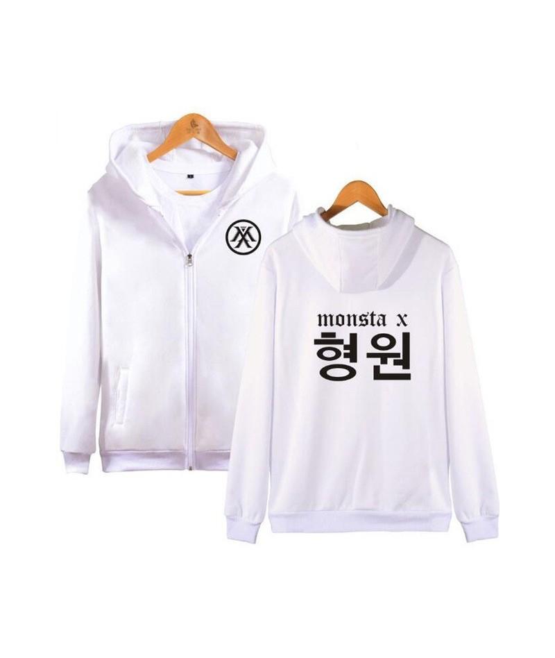 Moletom K-POP Monsta X Zipper Hoodies Sweatshirt Women/Men Korean Fashion Hip Hop Fleece Hooded Jacket Coat Female Streetwea...