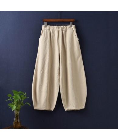 Women Wide Leg Pants Elastic Waist Pockets 2019 Summer New Vintage Patchwork Women Trouser Solid Color Women Pants - Beige -...