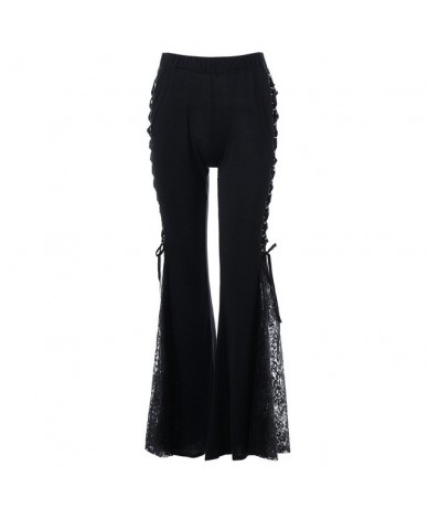 Women Gothic Lace Flare Pants Lace Up Patchwork Slim Trousers Fashion Bandage Side See Through Europe Style Casual Bellbotto...