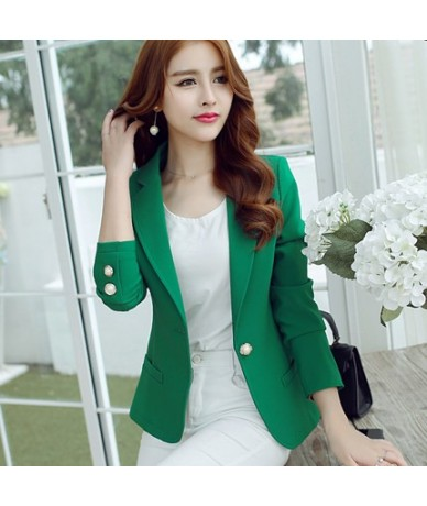 Fashion Spring Summer Women Slim Suit Blazer Coat Female Casual Jacket Long Sleeve One Button Lady Blazers Solid Work Wear -...