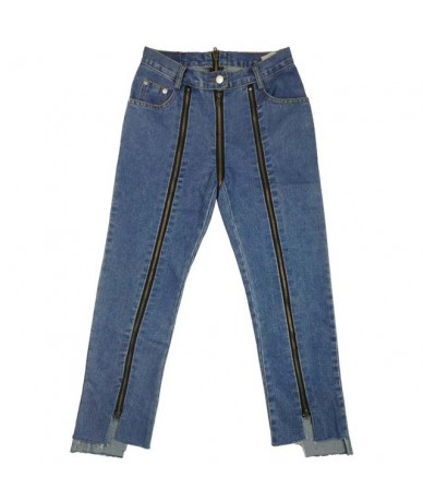 women side back zipper jeans ladies spring cotton dark blue solid straight denim ankle length pants female high split trouse...
