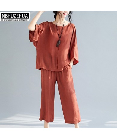 Women Two Piece Outfits 2019 Loose 2 Piece Set Women Pant and Top Plus Size Summer Suit conjuntos de mujer 4XL 19-D253 - wom...
