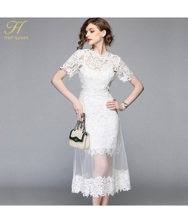 Summer Mesh Patchwork Lace Dress Women O-neck Work Casual Party Slim Sexy White Long Dresses Vintage Vestidos - WHITE - 4C39...