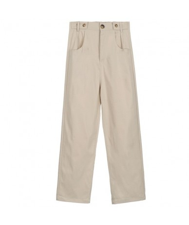 Casual High Waist Straight Women Pants Pockets Ankle-length Pants Elegant Female Trousers pantalon femme 2019 - apricot - 4O...