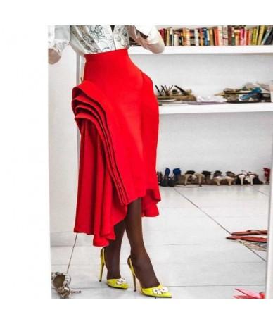 2019 Fashion Layer Ruffled Skirt Women Red Irregular Pleated Skirt High Waist Zipper Summer Jupe Saias Classy Femme Party Fa...