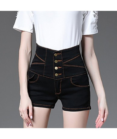 Women's summer buttons high waist large size denim shorts Casual skinny black white blue jeans - Black - 4T3927045565-1