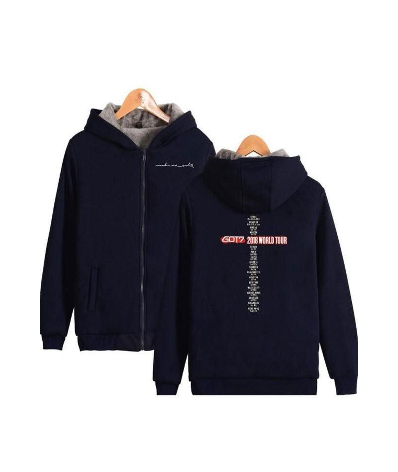 Winter Jacket Women Korean KPOP GOT7 Thick Warm Fleece Zipper Long Sleeve Hooded Sweatshirt Femael Casual Moleton Feminina -...