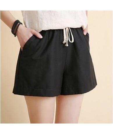 S-3XL Plus Size Drawstring Elastic Waist Cotton and Linen Wide Leg Shorts Women Summer Solid Casual Hot Pants - black - 4839...
