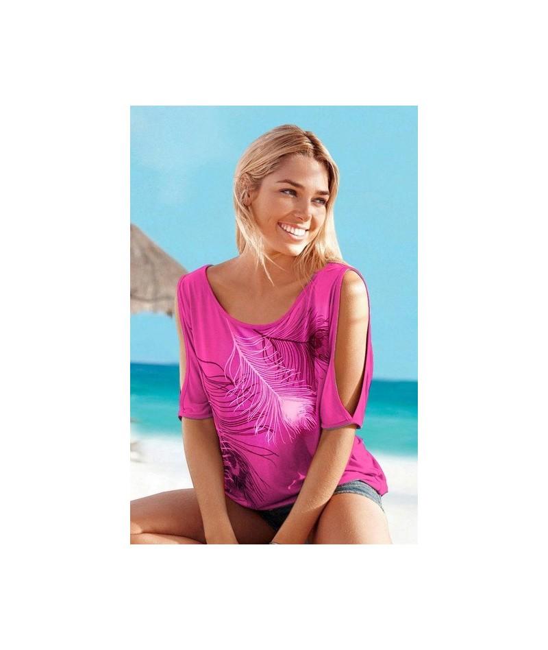 Sexy Women Feather Short Sleeve Off Shoulder Round Neck Loose Blouse Feminino Shirt Summer Casual Tops - Rhodo - 4E3927283393-5