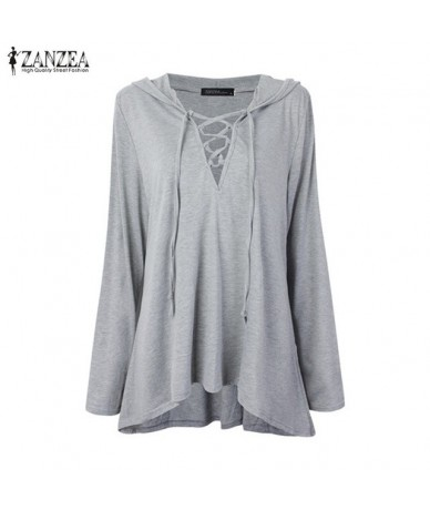 Women Blouses Shirts 2019 Casual Loose Solid Hollow Out Tops Spring Autumn Pullovers Hooded Long Sleeve Blusas Femininas - G...