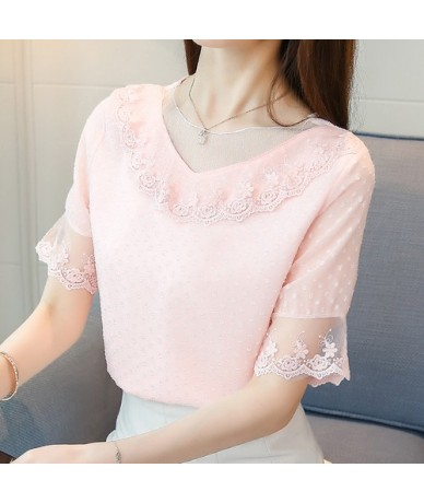 2019 fashion sweet pink summer tops chiffon blouse women shirt short sleeve hollow lace shirt women's clothing blusas 0132 3...