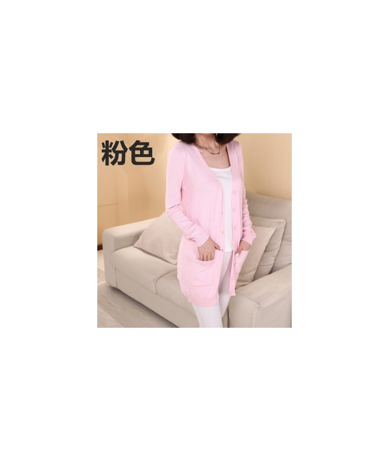 Lady wool Sweater Fashion medium long Cashmere Cardigan Women loose sweater for female outerwear coat with pockets - Pink - ...